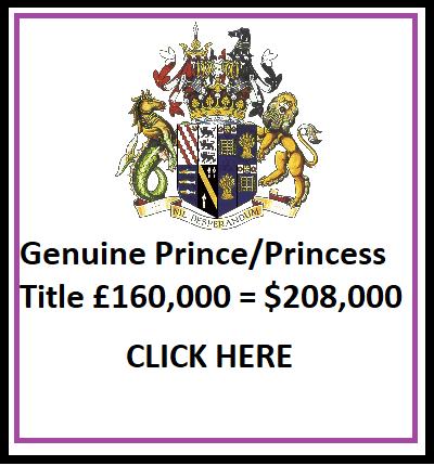 Prince 7 Princess Title for Sale